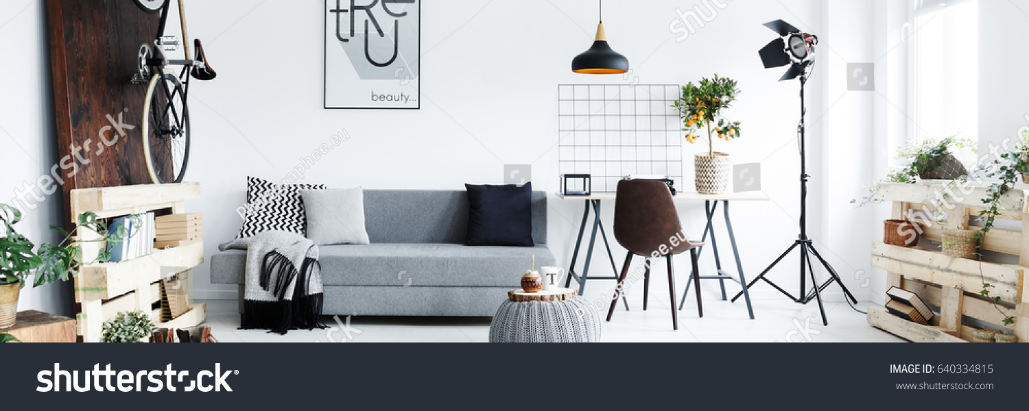 Panorama Of Minimalist Apartment For Man With Hipster Furniture