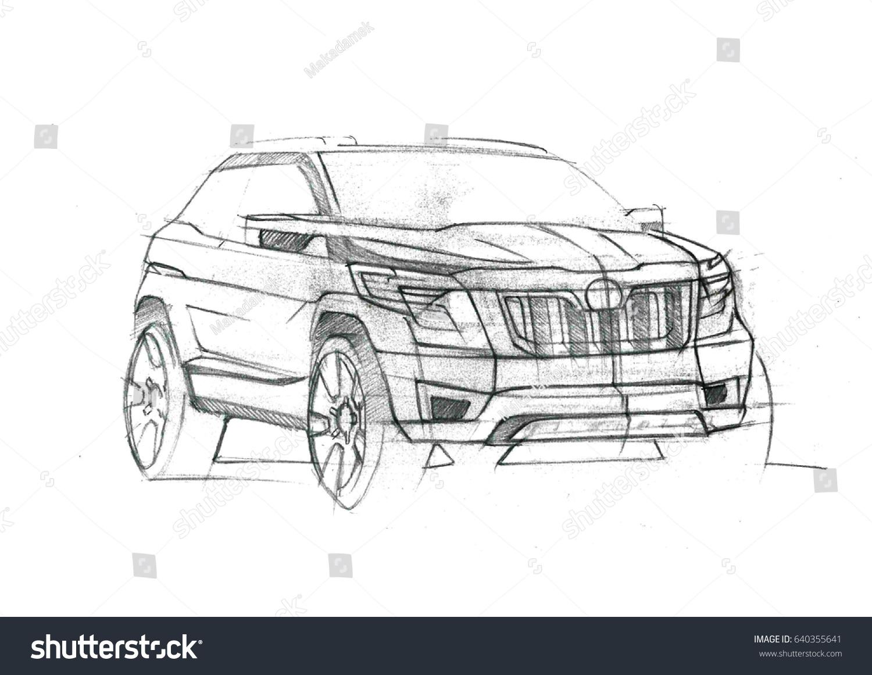 Design Sporty Exterior Car Drawing Pencil Stock Illustration ...