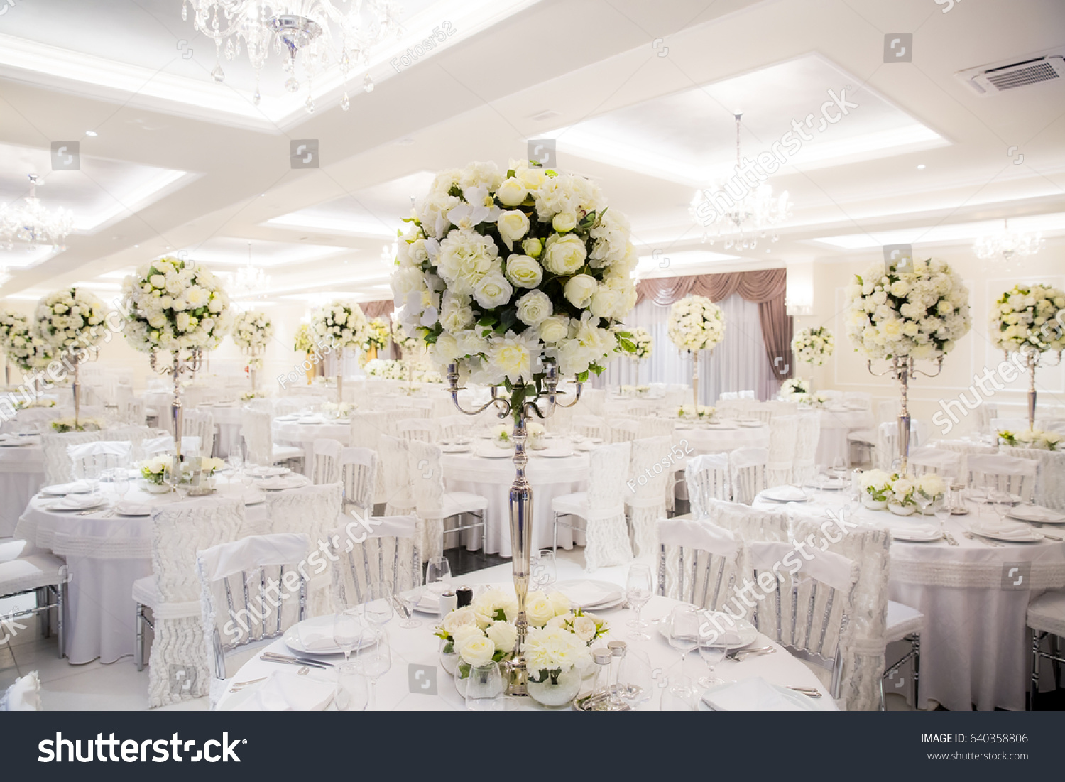 Wedding Hall Beautifully Decorated In White Ez Canvas