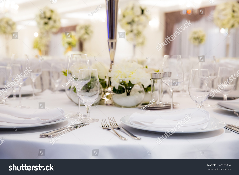 Beautifully Decorated White Colours Wedding Hall Stock Photo Edit