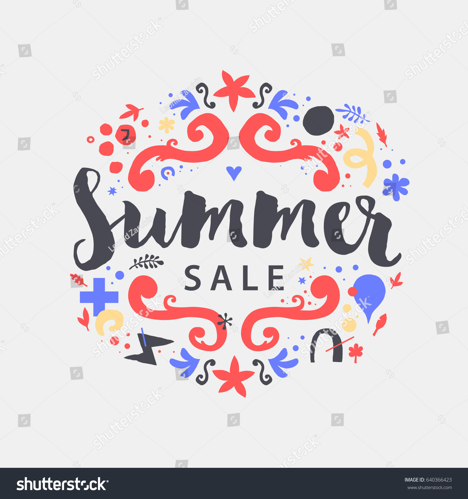Vector Summer Sale Template Funky Hand Stock Vector 640366423 ...