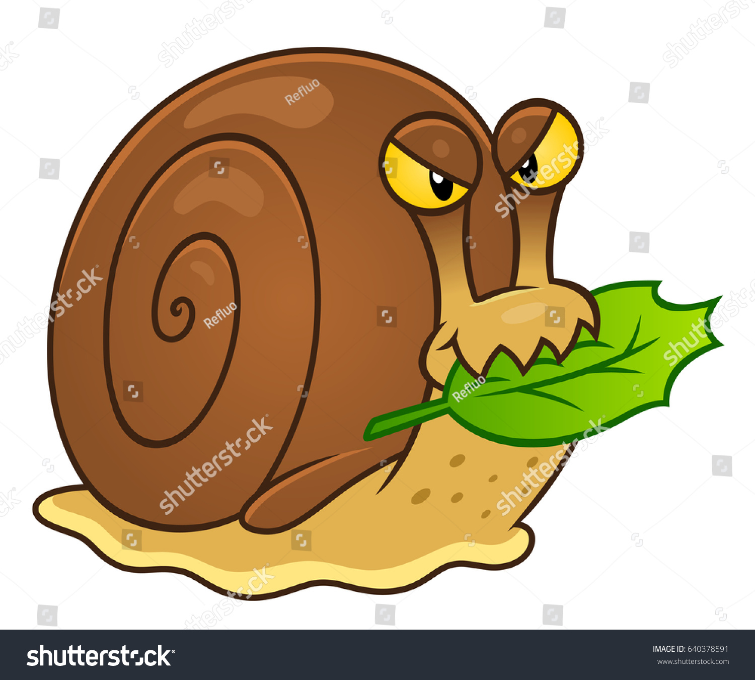 Brown Evil Garden Snail Eats Leaf Stock Vector (Royalty Free ...