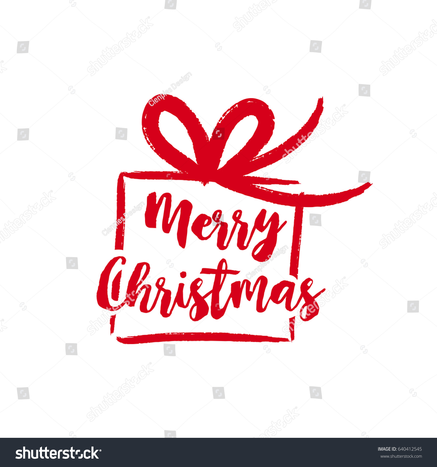 Merry Christmas Gift Text Quote Calligraphy Stock Vector