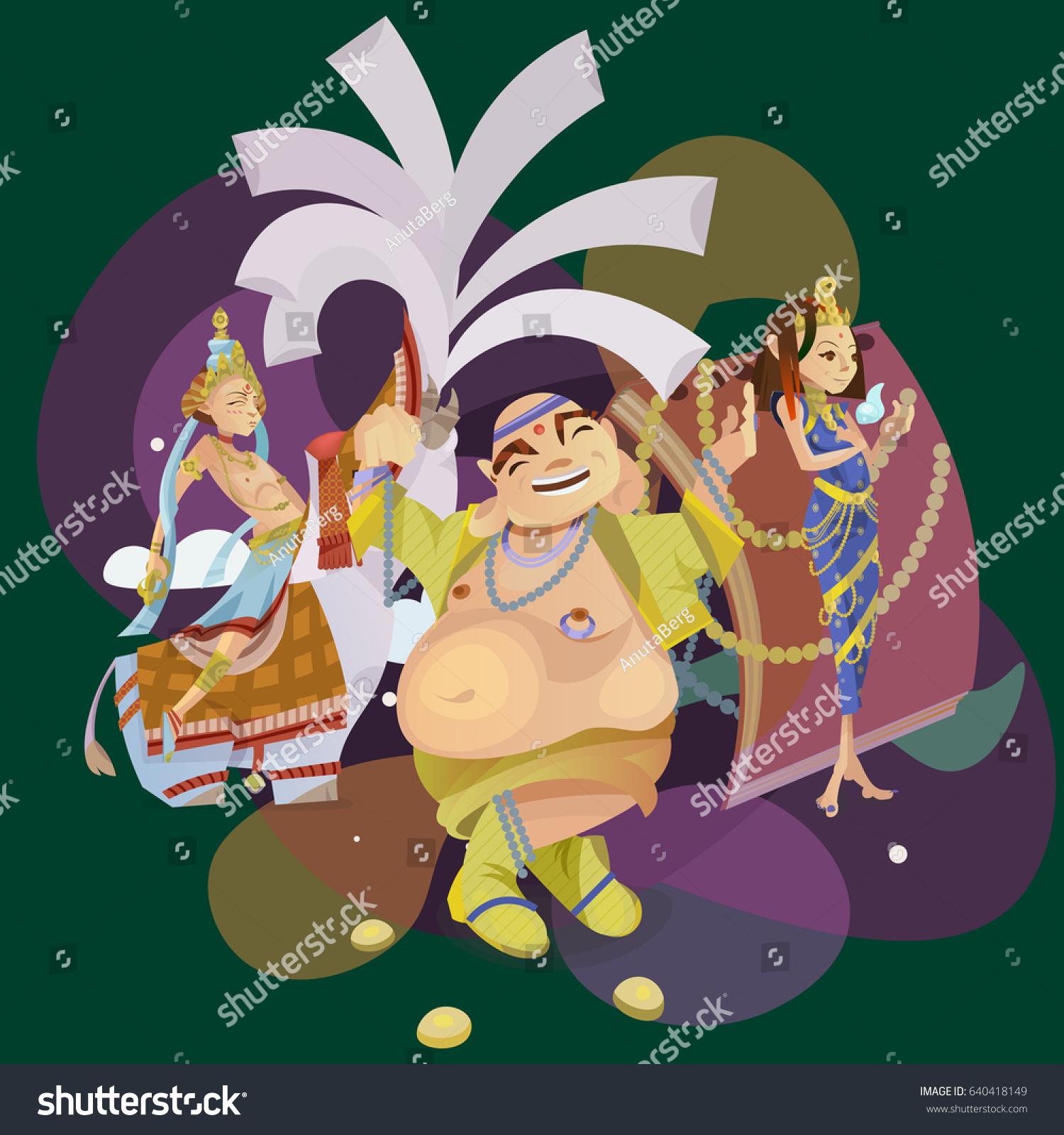 Set Isolated Hindu Gods Meditation Yoga Stock Vector Royalty Free 640418149