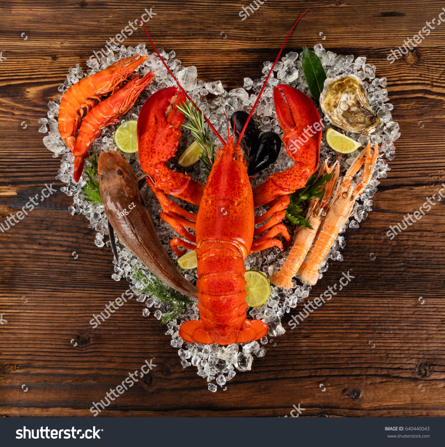 Fresh Seafood Lobster Mussels Fish Prawns Stock Photo 640440043