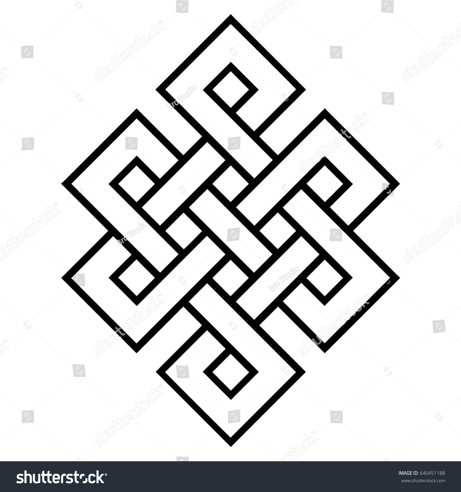 Cultural Symbol Buddhism Endless Knot Vector Stock Vector Royalty