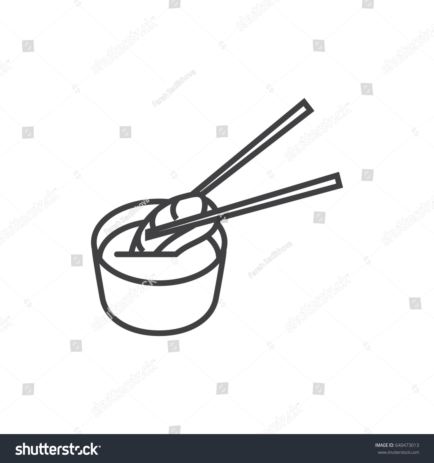 Sashimi Sushi Dunked Soy Sauce Outline Stock Vector 2018 640473013