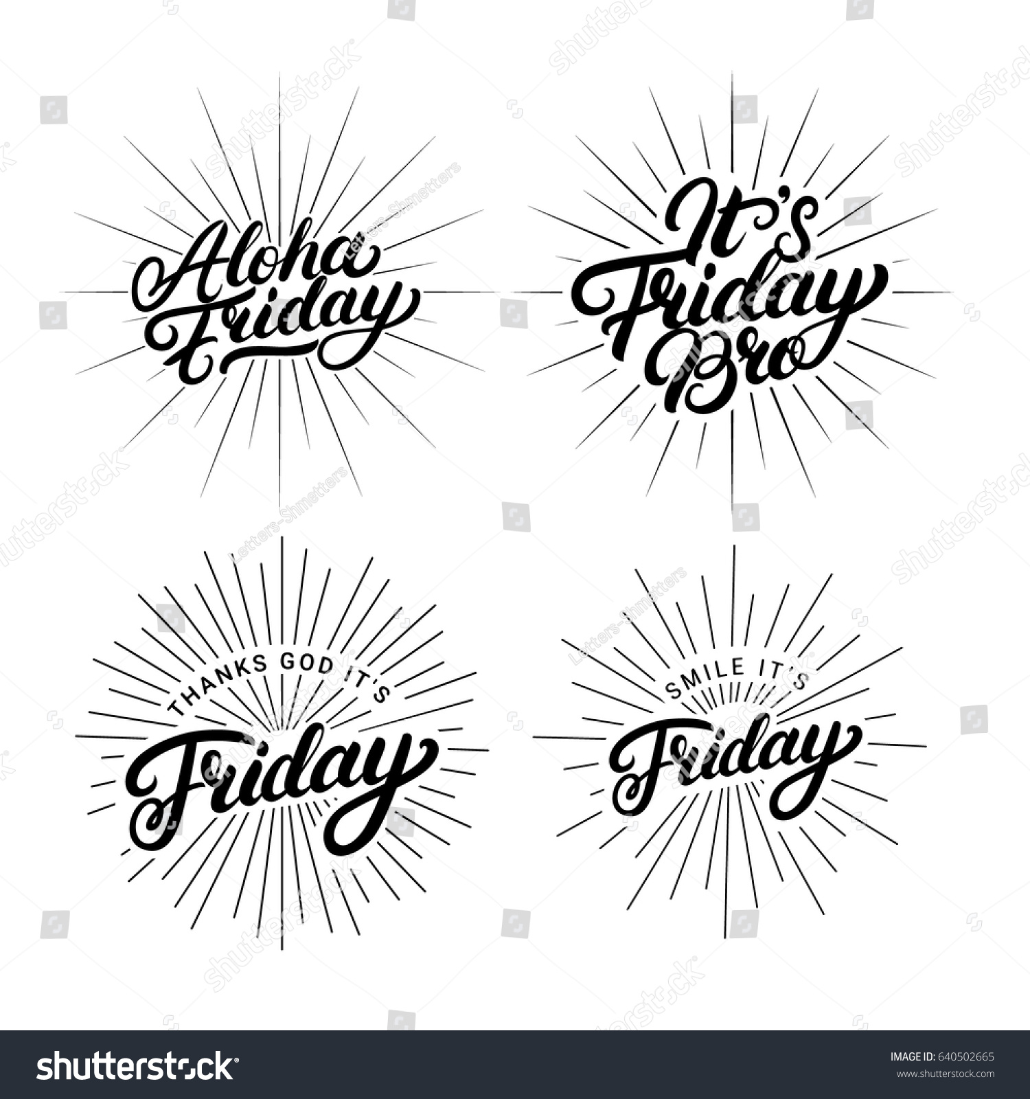 Set Friday Quotes Hand Written Lettering Stock Vector