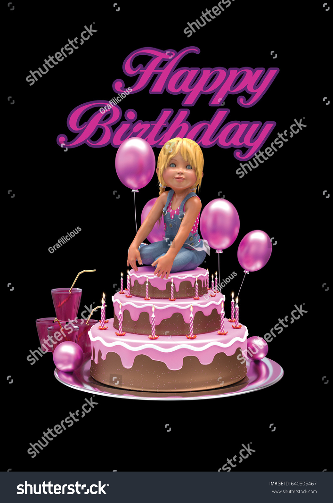 Happy Birthday 3 D Rendering Artwork Cake Stock Illustration
