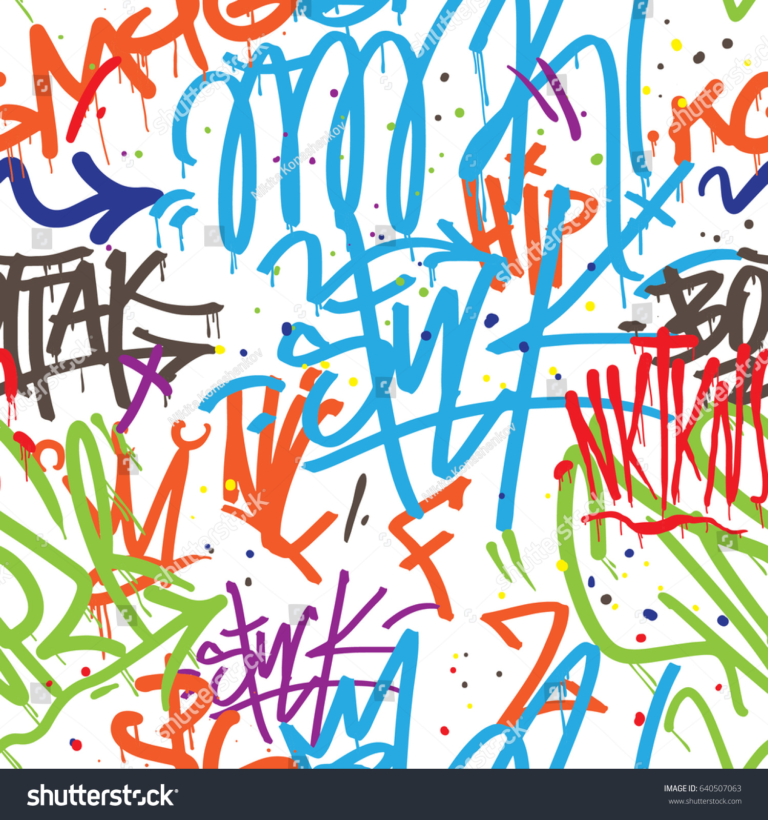 Vector tags seamless pattern graffiti background