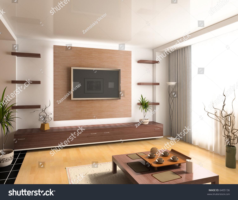 Modern interior design computer generated image 3d