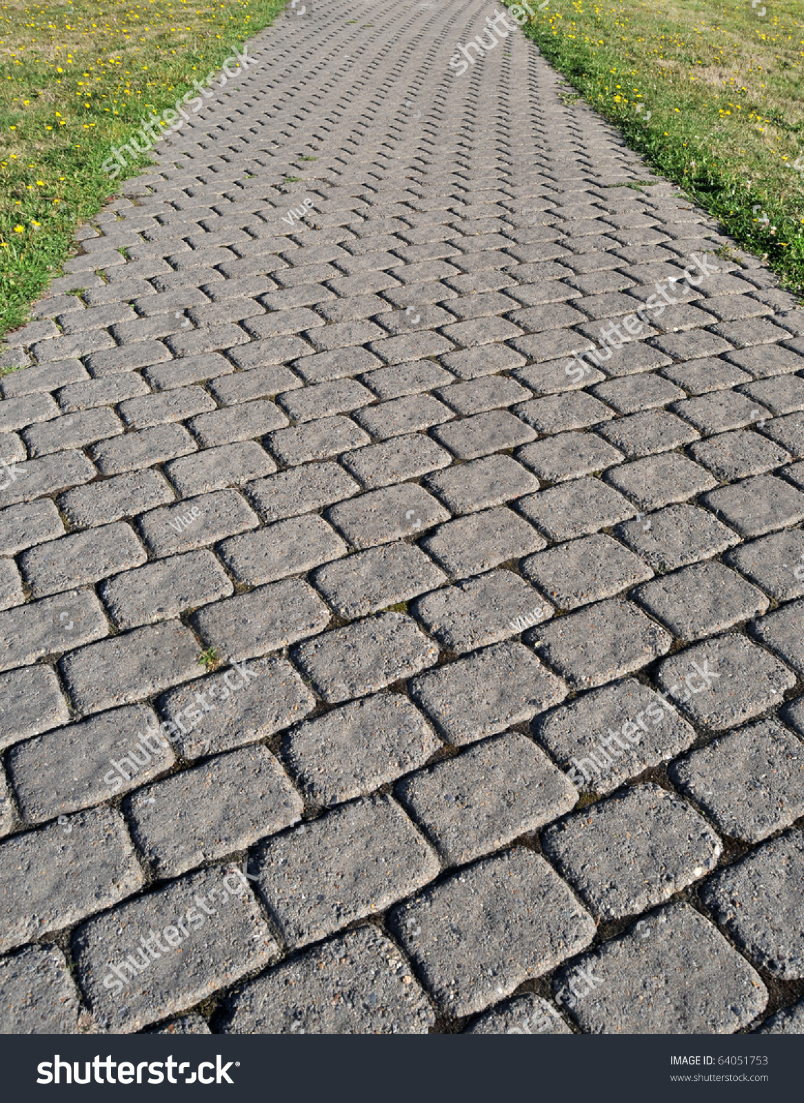 Cobblestone Path Square Bricks Showing Perspective Stock
