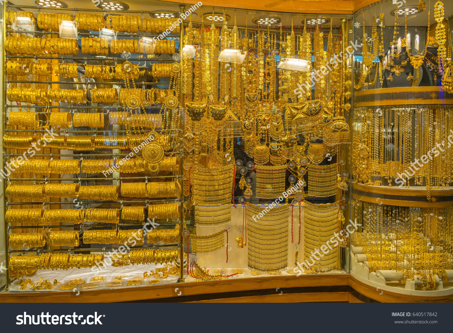 window dubai arab city gold emirates photo asia stock uae showcase display middle east jewelry united souq jewellery