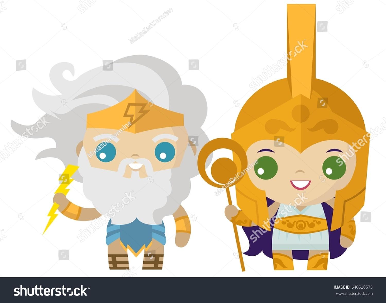 Palas athena minerva jupiter zeus god stock vector 640520575 palas athena minerva and jupiter zeus god of the ray greek roman mythology cute tiny god biocorpaavc Images
