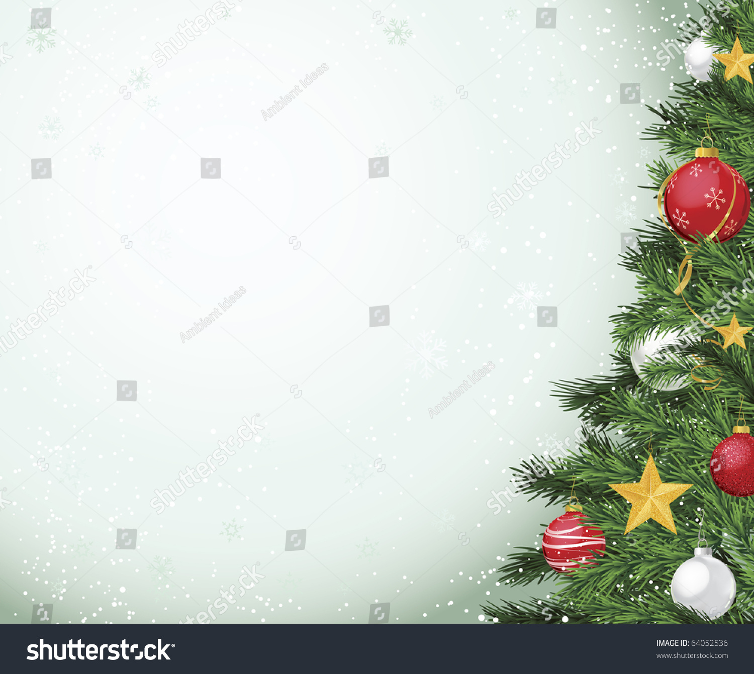 Horizontal christmas tree layout with red and gold