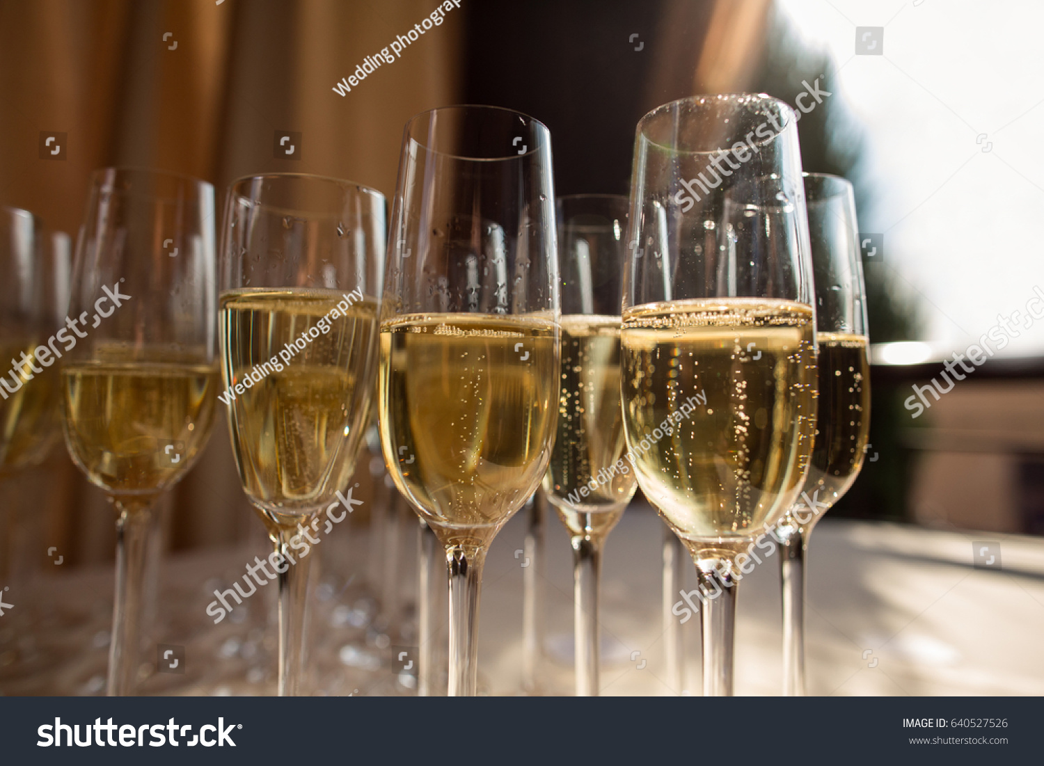 Rows Champagne Glasses On Alcohol Party Stock Photo Edit Now