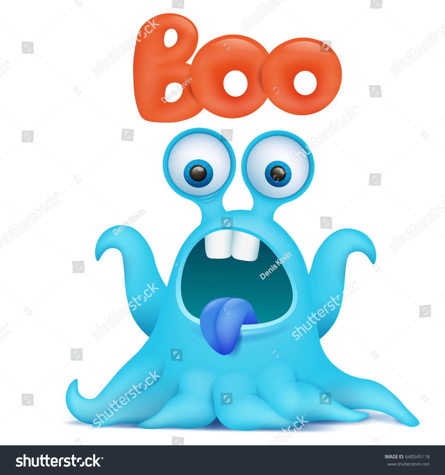 blue octopus cartoon alien monster saying stock vector 640545118