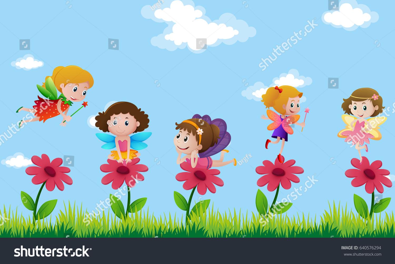Flower garden cartoon - Fairies Flying In Flower Garden Illustration
