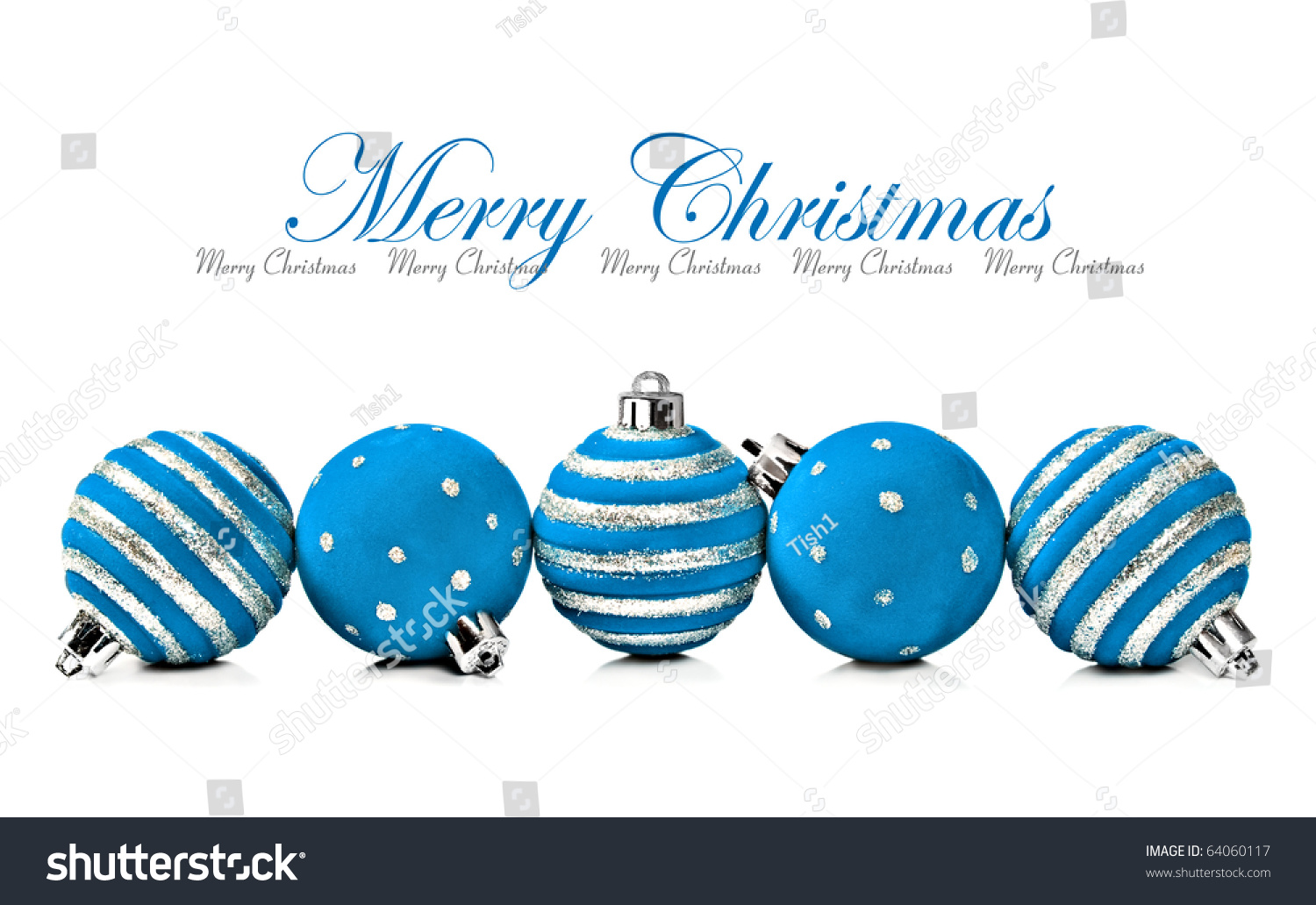 five blue christmas decoration ball on a white background with space for text - Blue Christmas Decorations