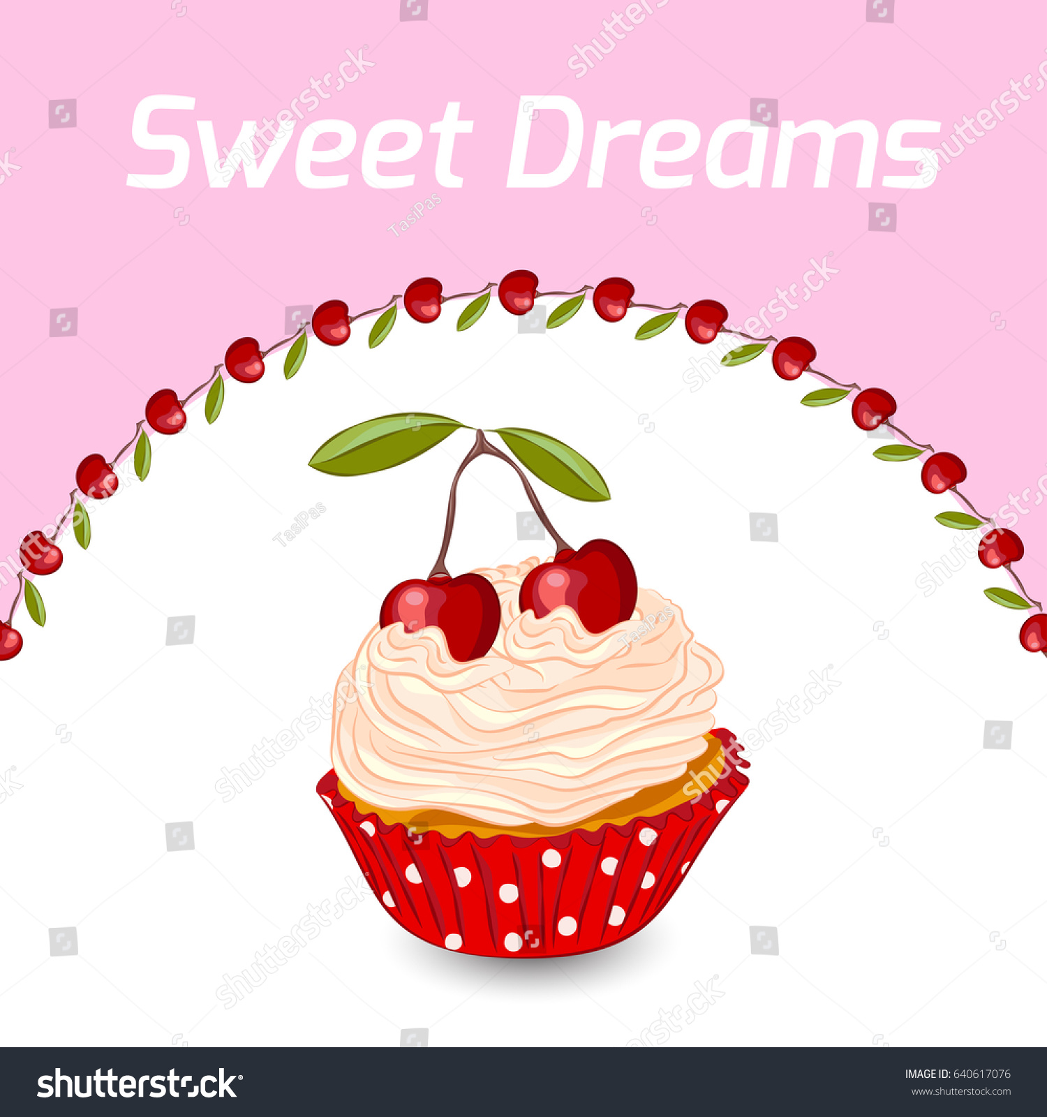 Cupcake Whipped Cream Cherry Vector Birthday Stock Vector