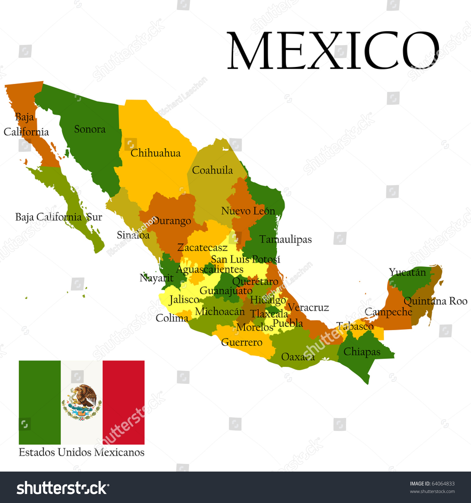 mexico united states of administrative map and flag. mexico united states of administrative map stock illustration