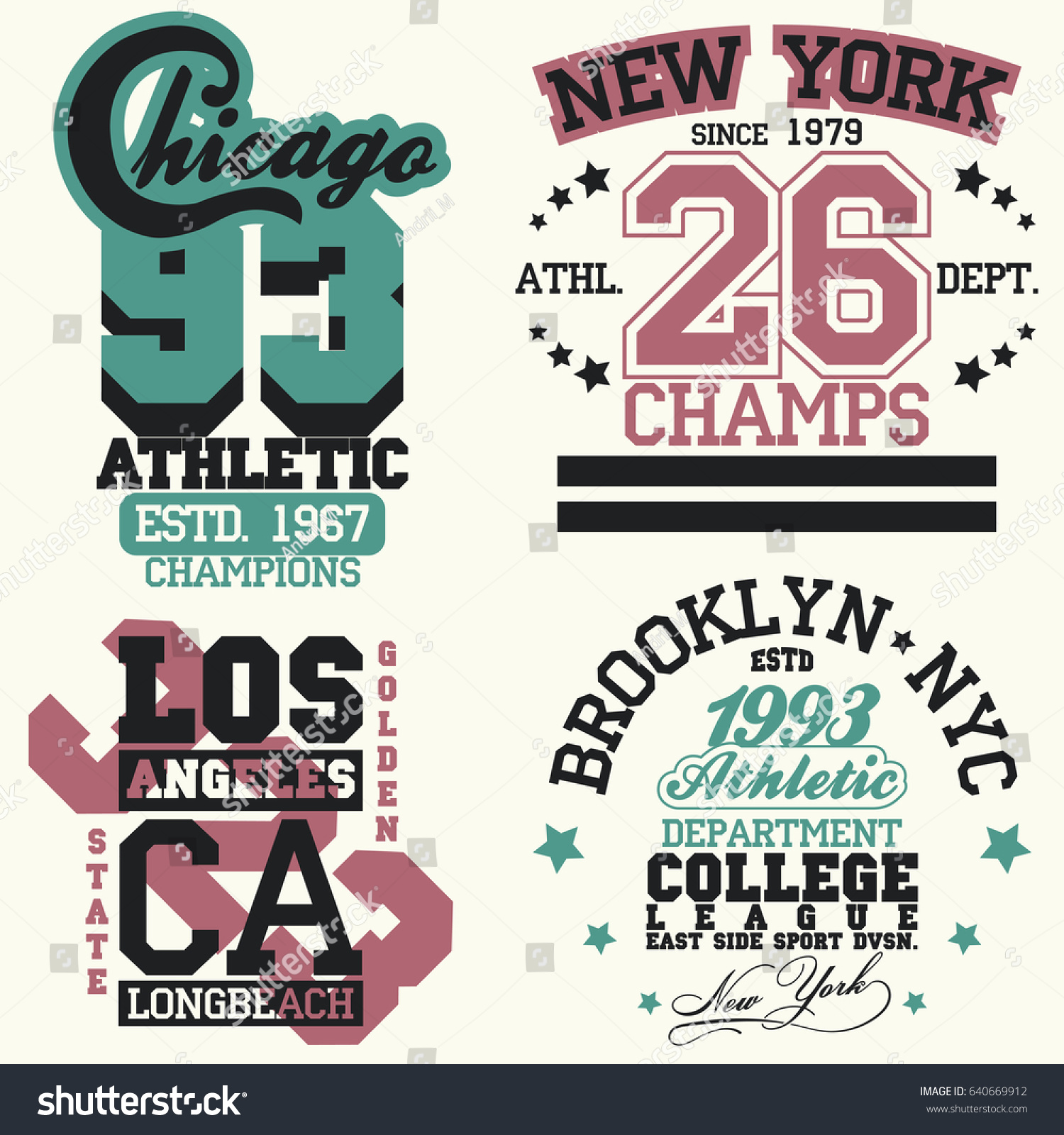 T Shirt Stamp Graphic Set New York Sport Wear Typography Emblem Set