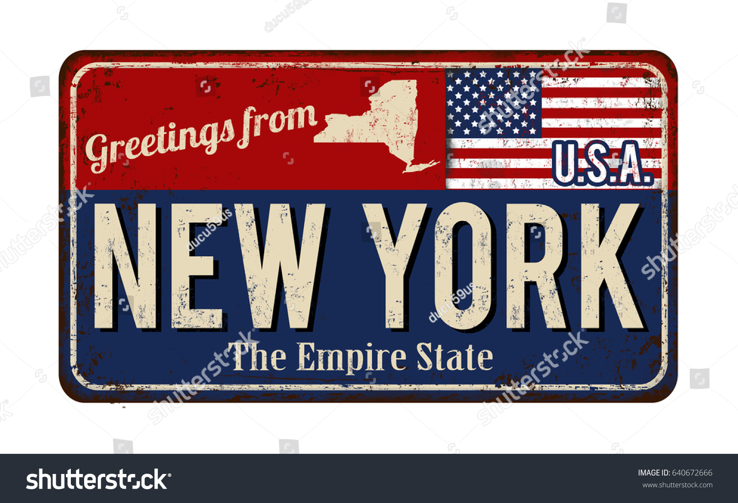 Greetings new york vintage rusty metal stock vector 640672666 greetings from new york vintage rusty metal sign on a white background vector illustration kristyandbryce Images