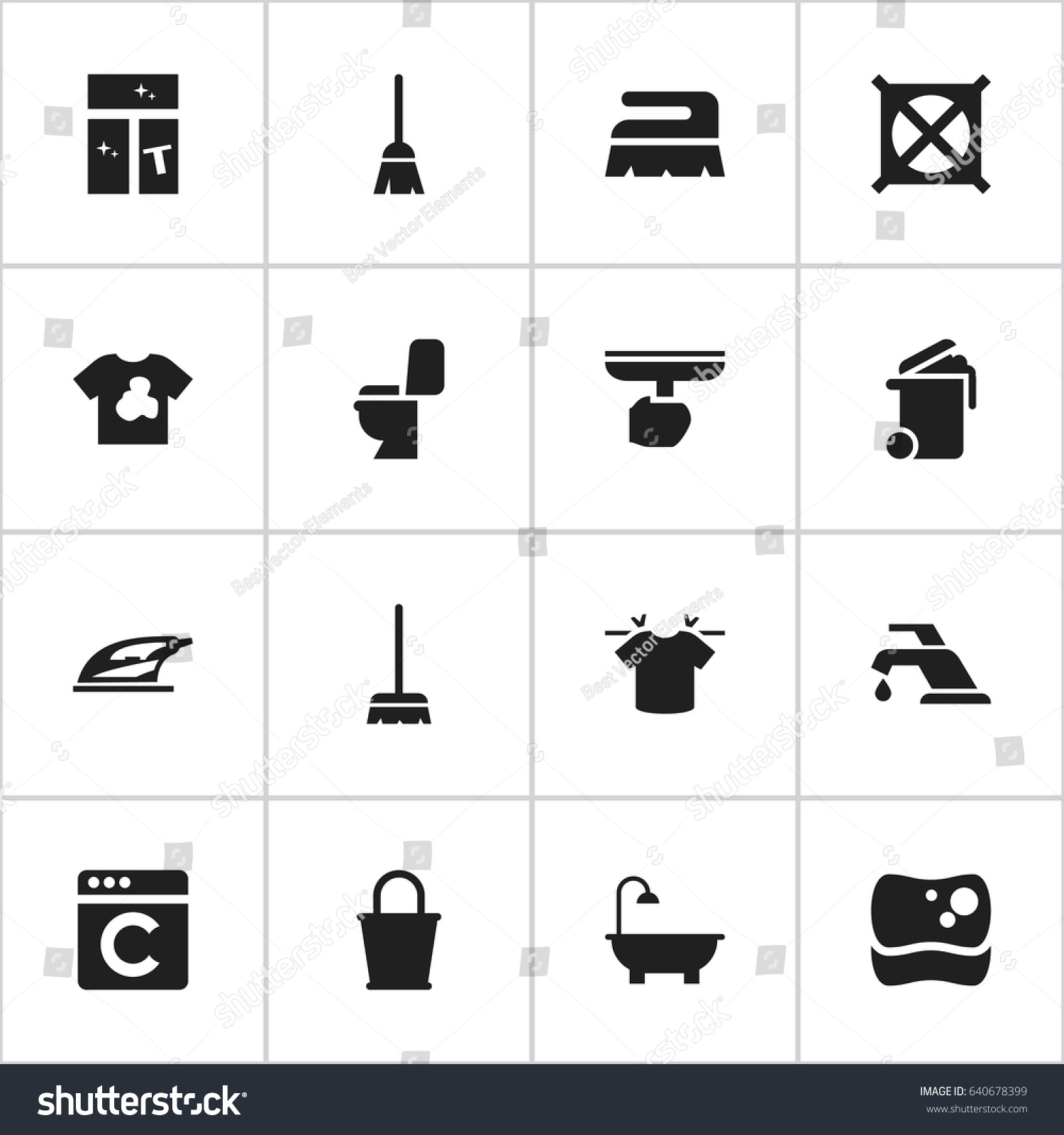 Set 16 editable drycleaning icons includes stock vector 640678399 set of 16 editable dry cleaning icons includes symbols such as no laundry buycottarizona Choice Image