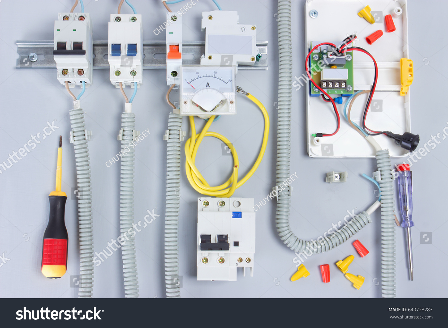Electric Equipmentbox Electrical Devices Wirestools Stock Photo ...