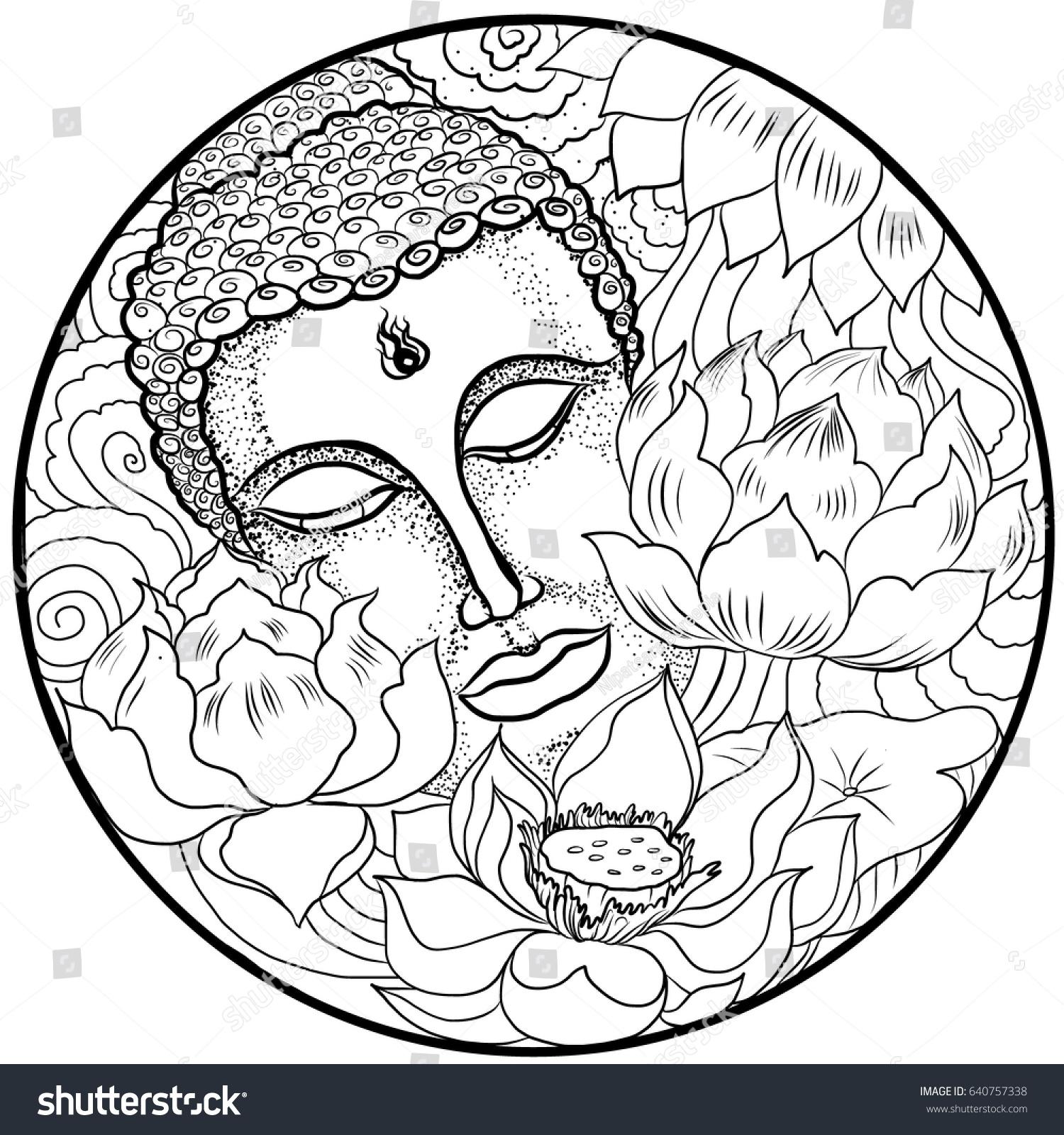 Hand Drawn Asian Tattoo Design Buddha Stock Vector Royalty Free