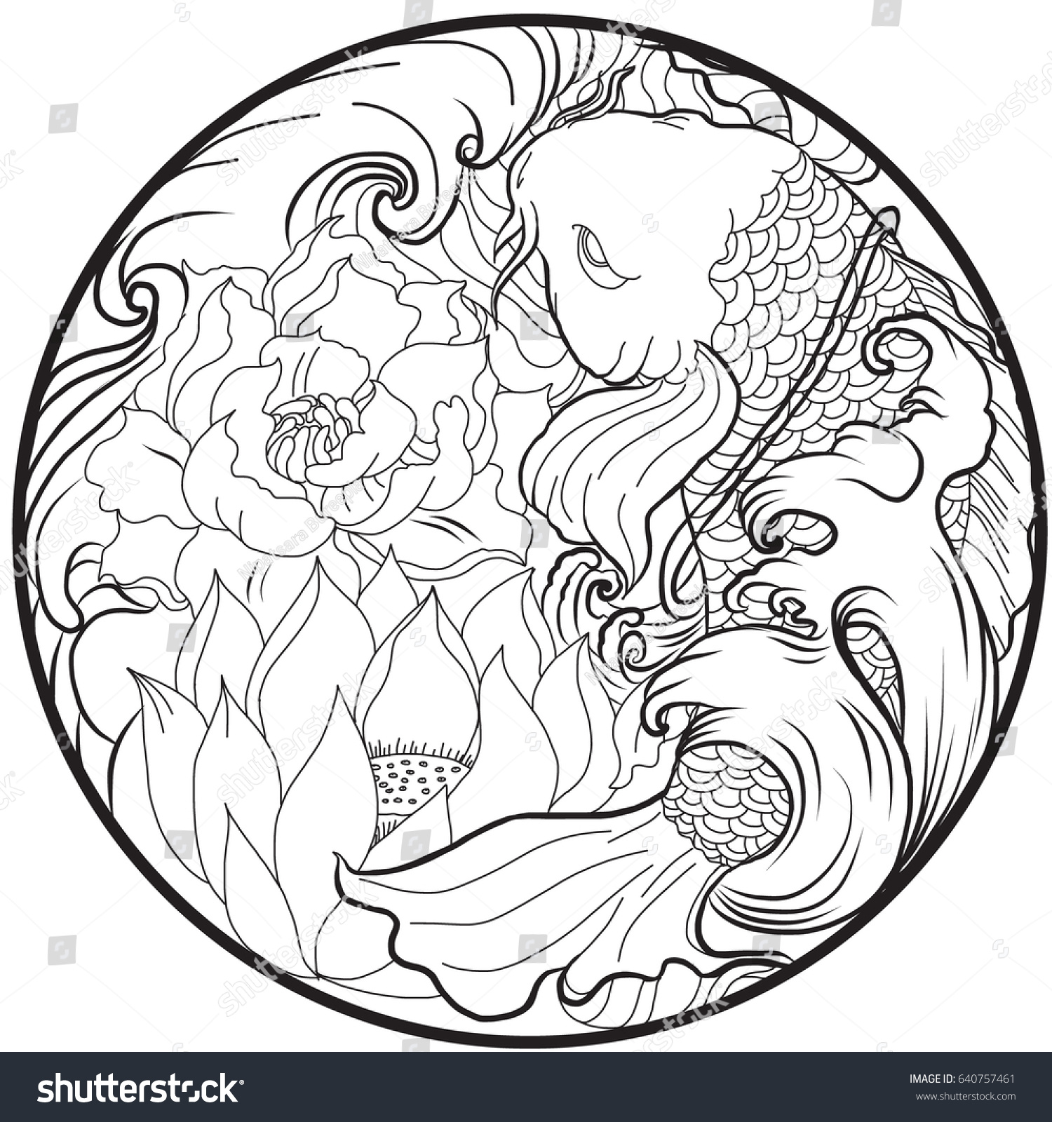 Hand drawn asian tattoo design koi stock vector royalty free hand drawn and asian tattoo design koi fish with lotus and peony flower in circle izmirmasajfo