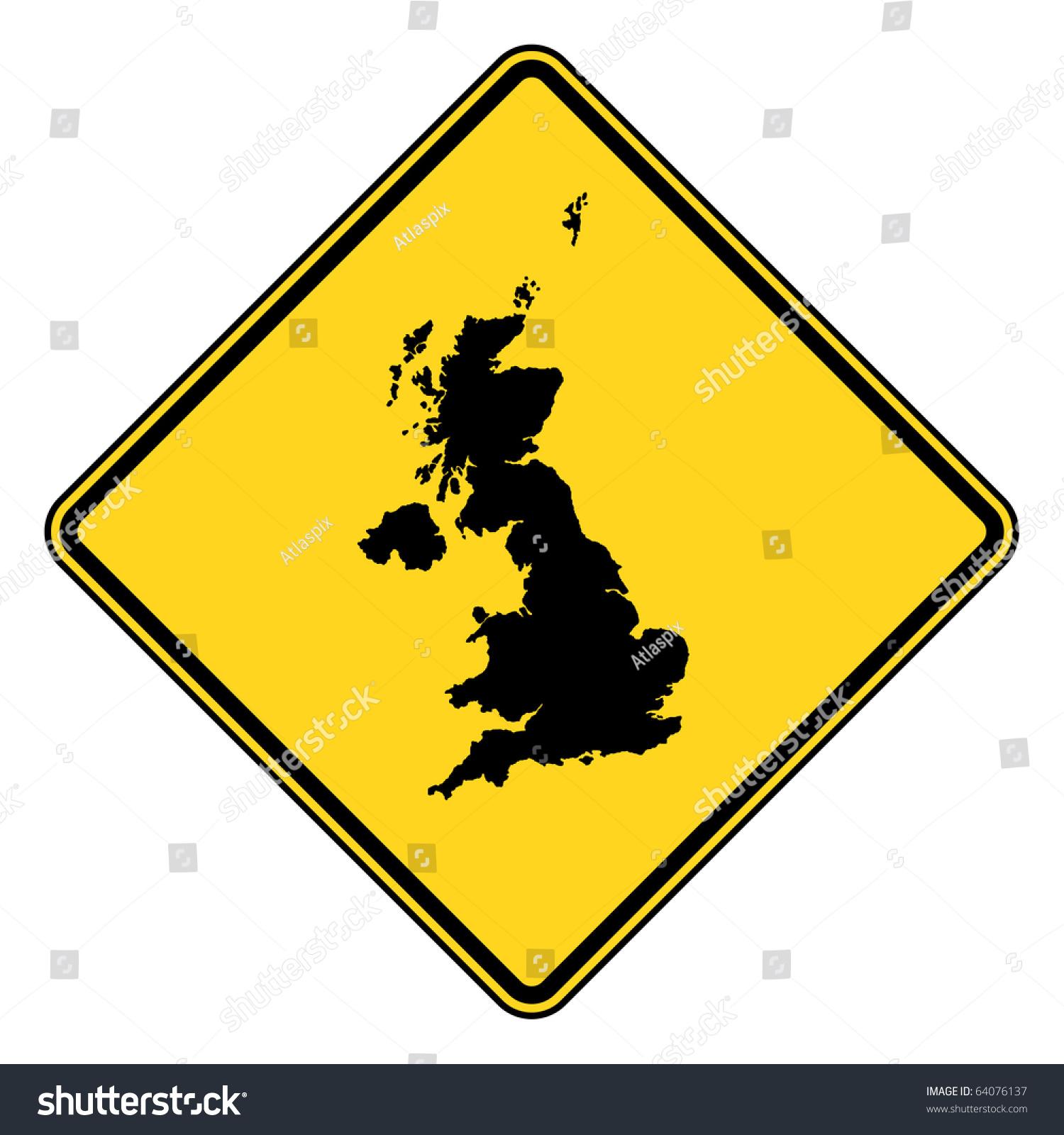United Kingdom Yellow Diamond Shaped Road Stock ...