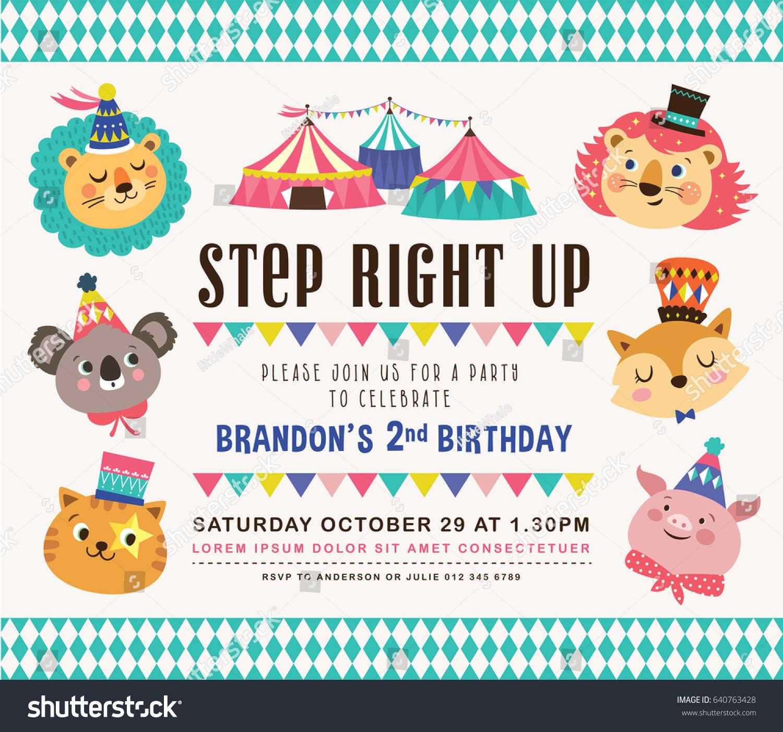 kids birthday party invitation card circus のベクター画像素材
