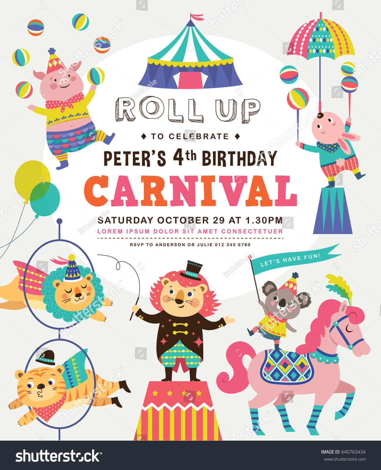 kids birthday party invitation card circus stock vector 640763434