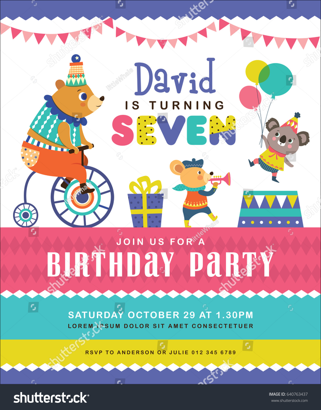 Kids birthday party invitation card circus em vetor stock 640763437 kids birthday party invitation card circus em vetor stock 640763437 shutterstock stopboris Images