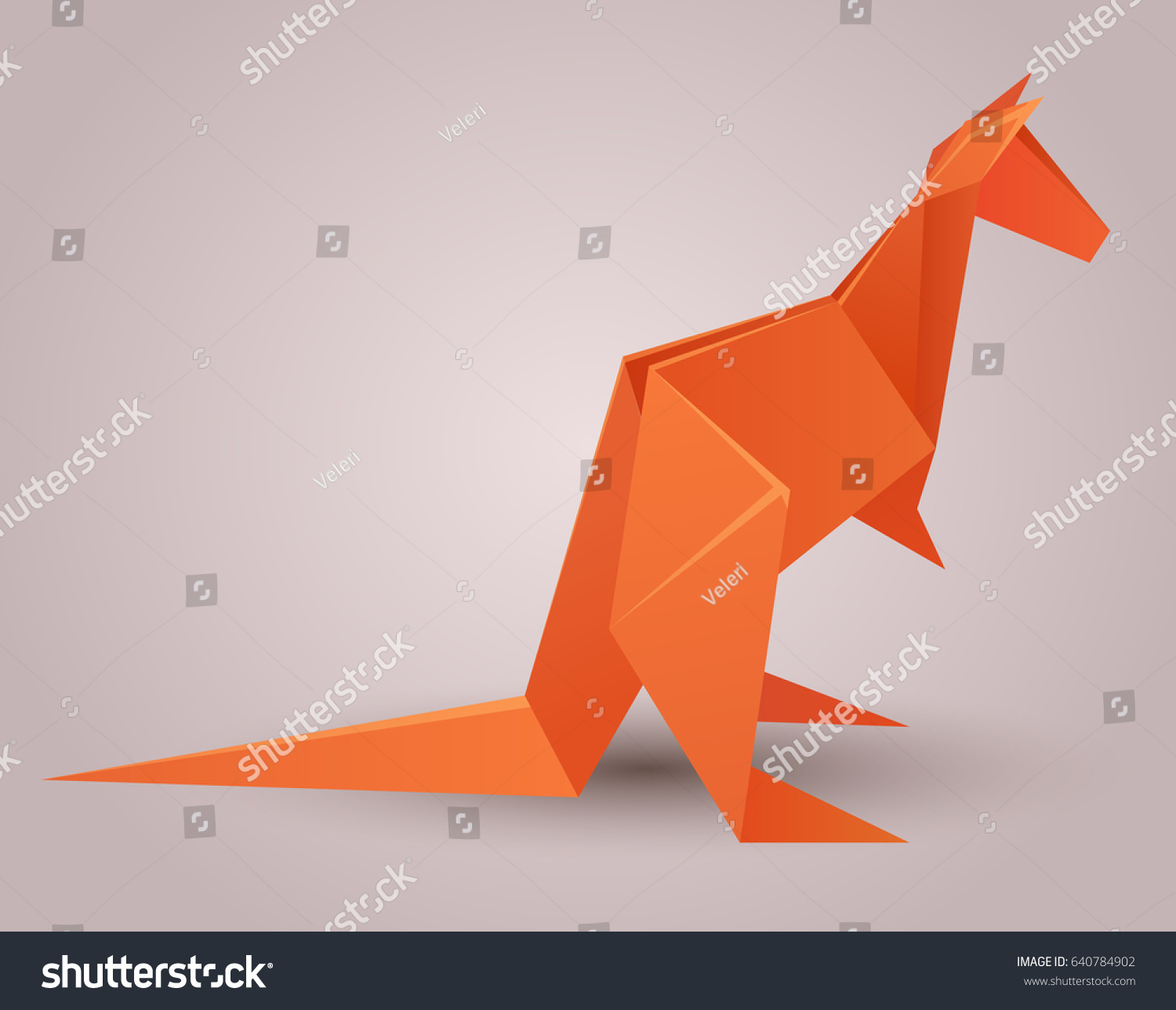 Illustration Of A Paper Origami Kangaroo Zoo Vector Element For Your Design