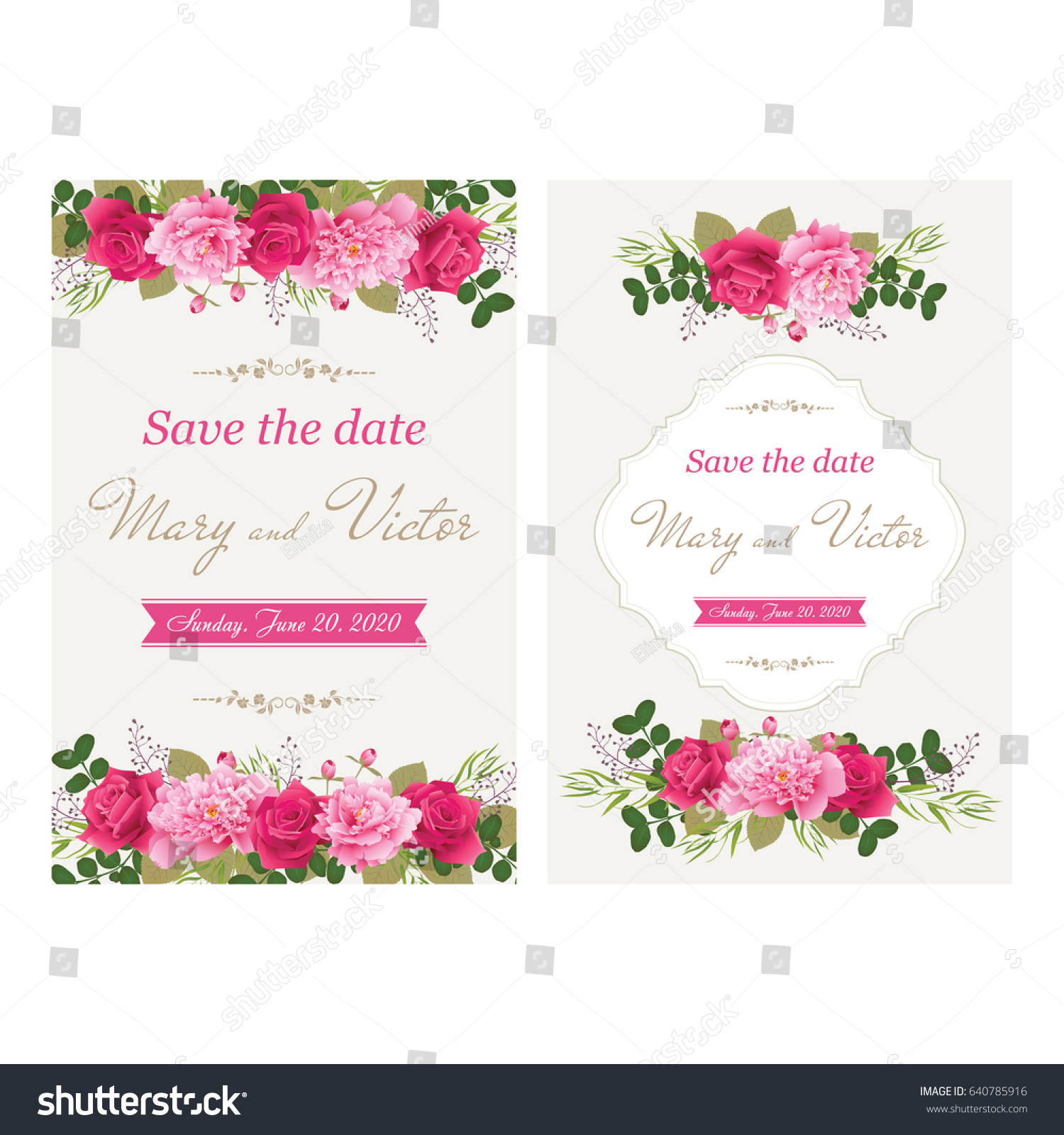 Wedding Invitation Cards Flower Use Boarding Stock Vector 640785916 ...