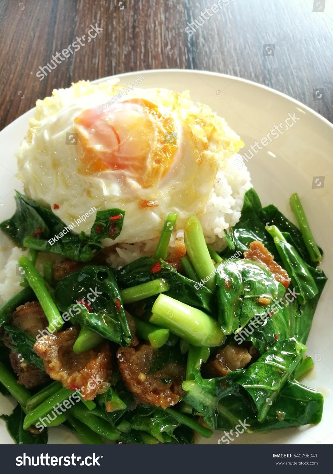 Stir Fry Chinese Kale Crispy Pork Stock Photo (Edit Now