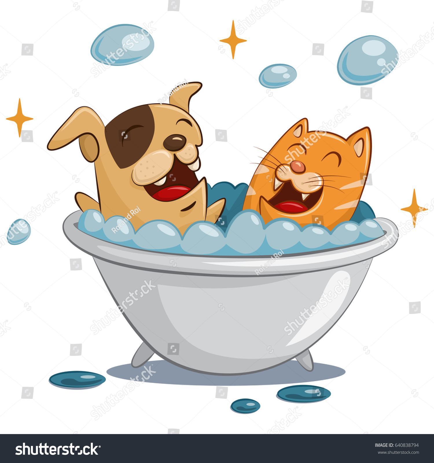 Pet grooming spa dog cat care stock vector 640838794 for A bath and a biscuit grooming salon