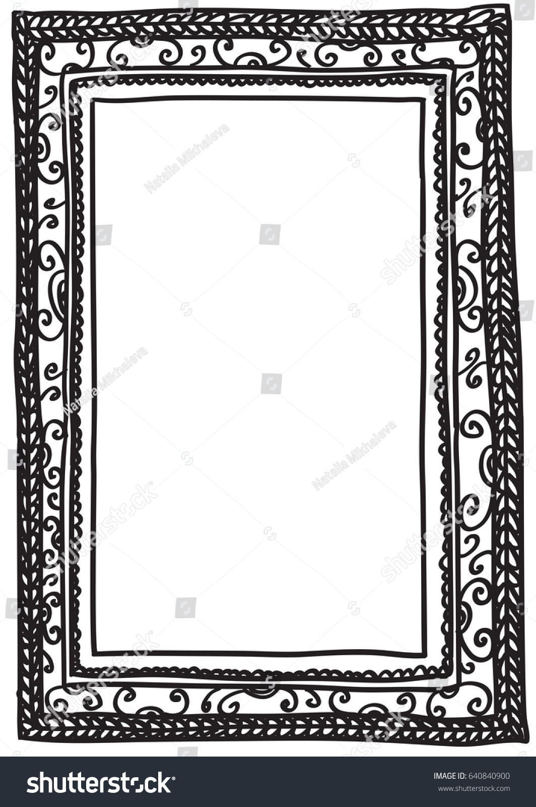 Vector Illustration Black Doodle Frame Isolated Stock Photo (Photo ...
