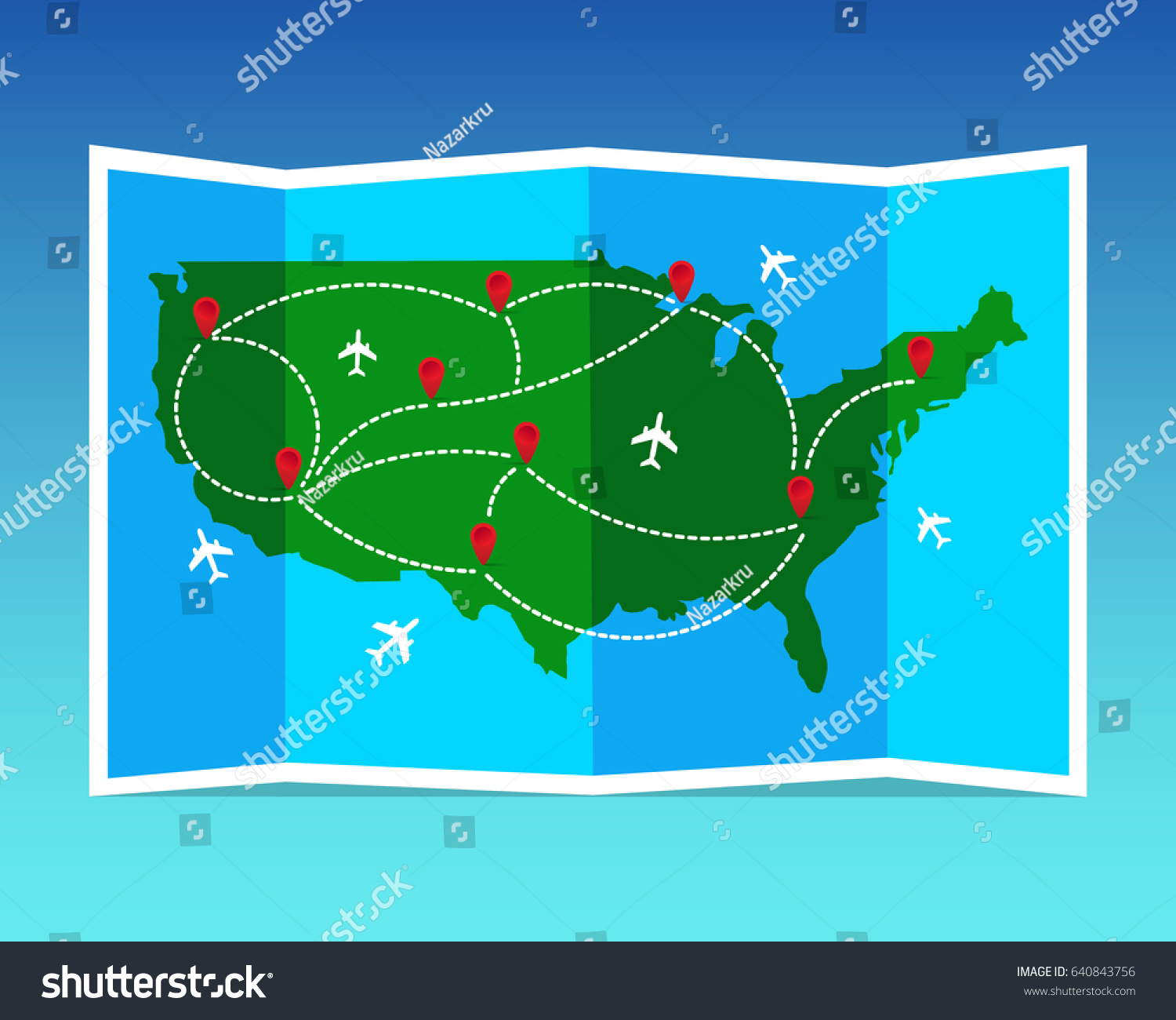 Travel tourism map united states america stock vector 640843756 travel and tourism map united states of america folded world map with airplanes and markers gumiabroncs Choice Image