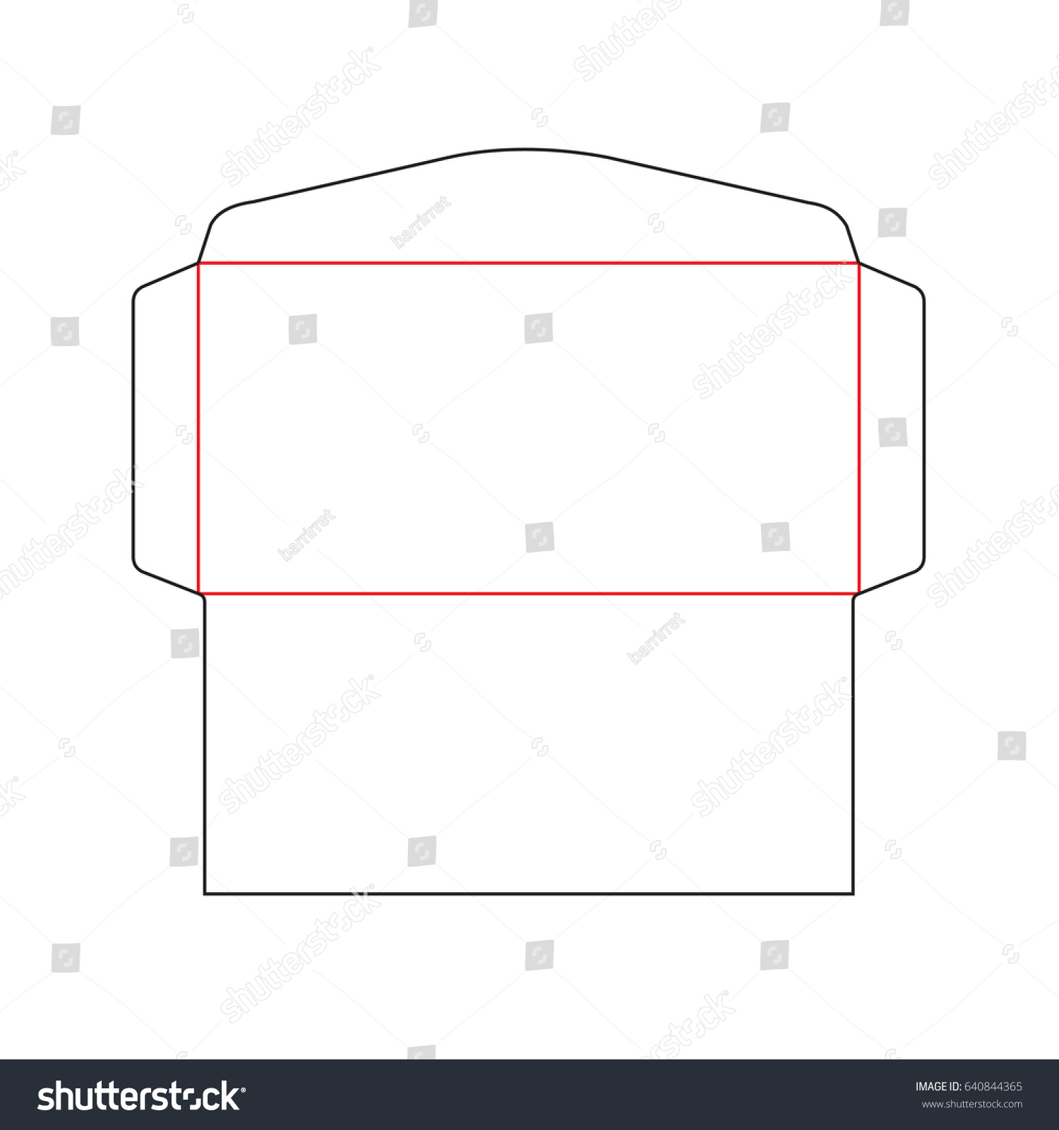 Envelope DL Size Die Cut Template Stock Vector (Royalty Free ...
