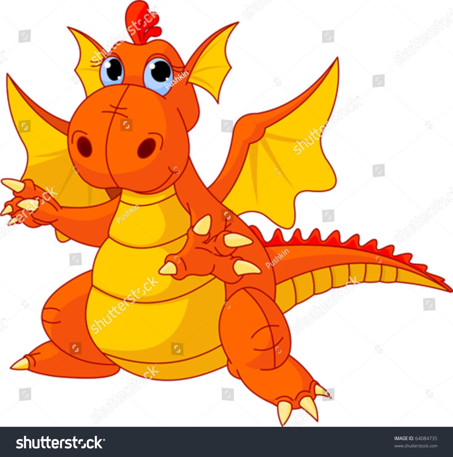 Illustration Cute Cartoon Baby Dragon Pointing Stock