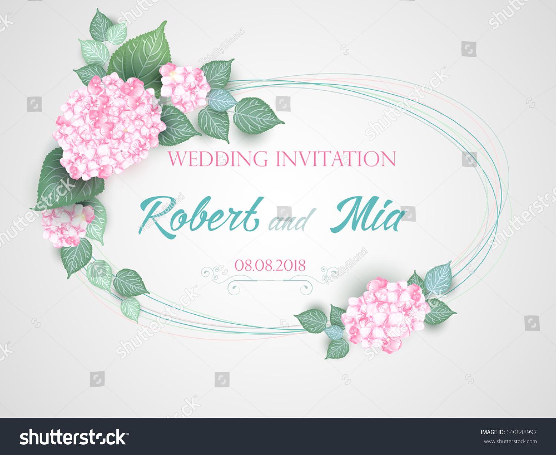 Vector Flower Wedding Invitation Card Blue Stock Vector (Royalty ...