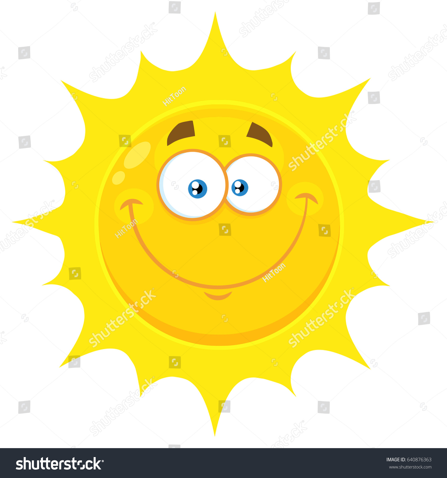 45e968c90b9d Smiling Yellow Sun Cartoon Emoji Face Character With Happy Expression.  Raster Illustration Isolated On White