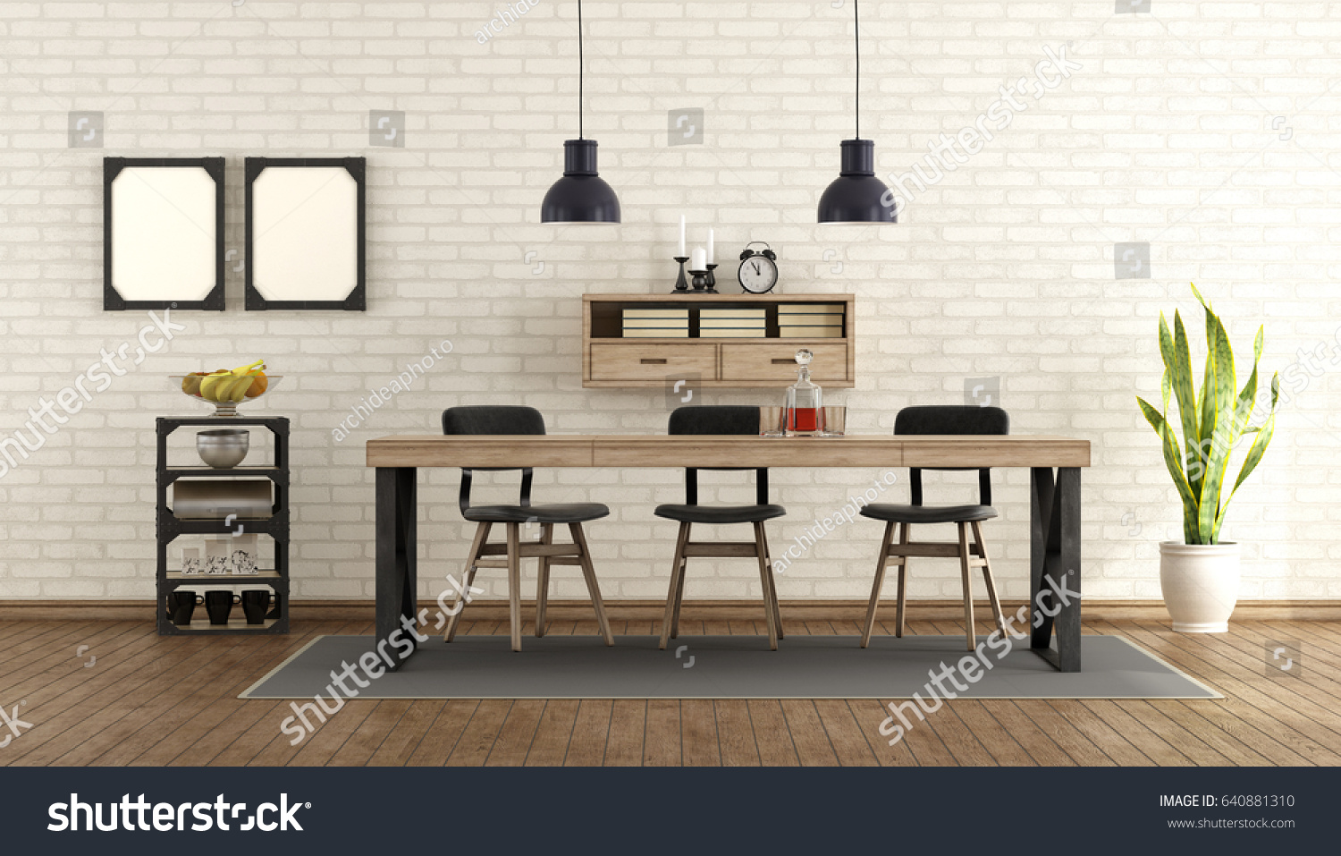 industrial dining room table and chairs. Dining Room In Industrial Style With Table And Chairs - 3d Rendering L