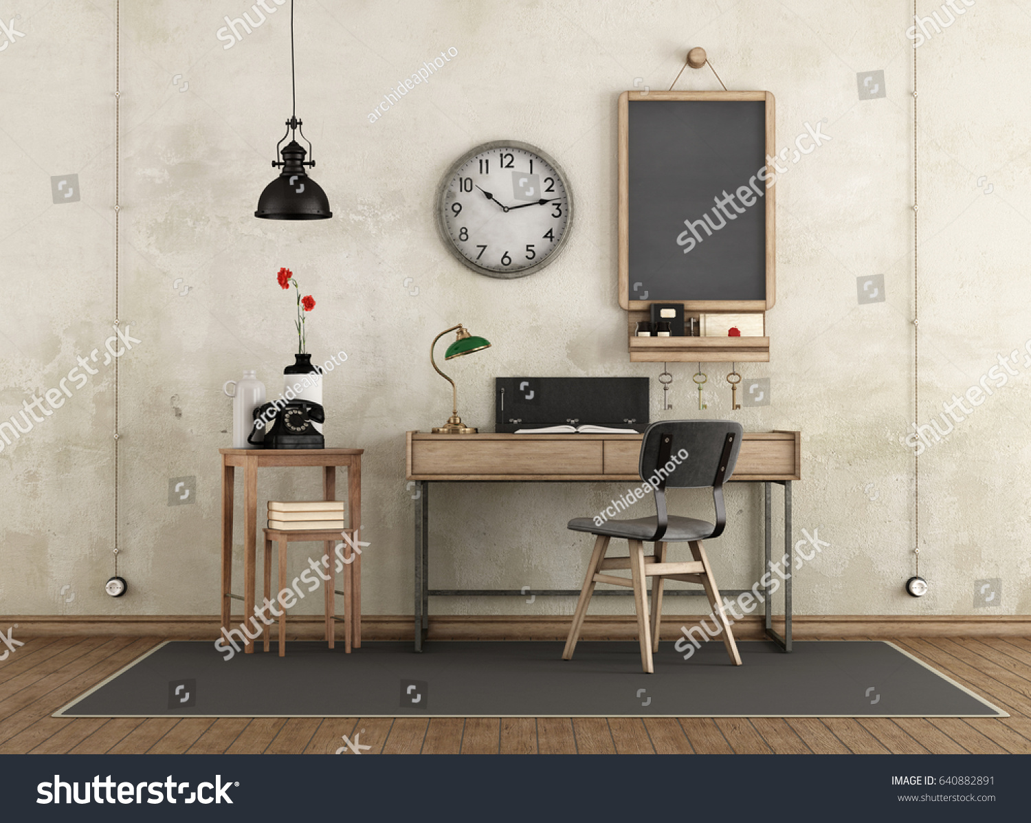home workspace in industrial style with desk and retro objects 3d rendering