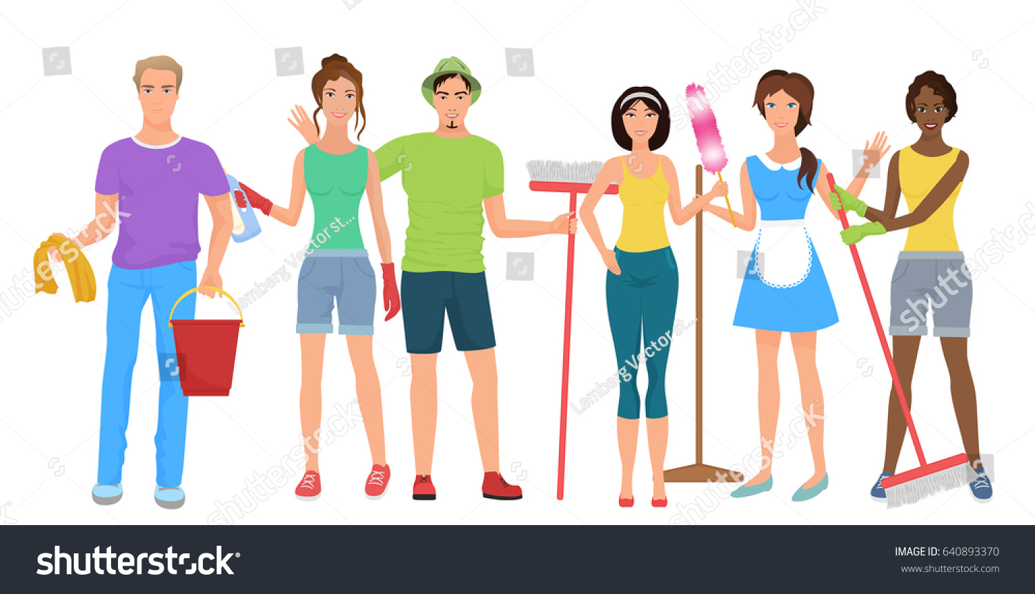 People Cleaning Services : Man woman janitors cleaners cleaning people stock