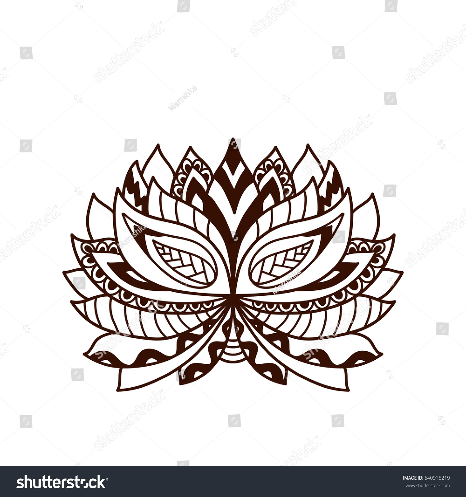 Henna Tattoo Doodle Vector Lotus Flower Stock Vector Royalty Free