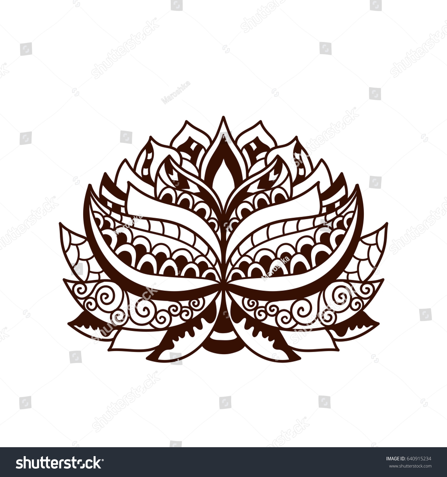 Henna tattoo doodle vector lotus flower stock vector hd royalty henna tattoo doodle vector lotus flower on white background mehndi design abstract floral element izmirmasajfo Image collections